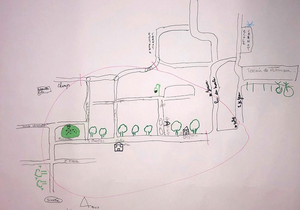 Réalisation d'une carte mentale du quartier du Rieu